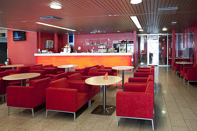 Cafe And Bar Area In Tallinn Airport Poster