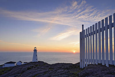 Cape Spear Lighthouse At Sunrise, Cape Poster by Yves Marcoux