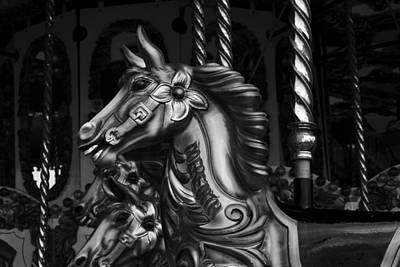 Poster featuring the photograph Carousel Horses Mono by Steve Purnell
