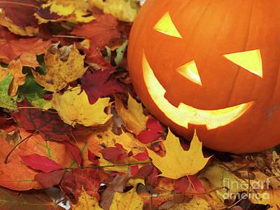 Carved Pumpkin On Fallen Leaves Poster by Oleksiy Maksymenko