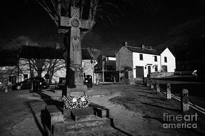 Celtic Cross War Memorial In Market Place In The Peak District Village Of Castleton Derbyshire  Poster by Joe Fox
