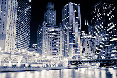 Chicago Downtown At Night Poster by Paul Velgos