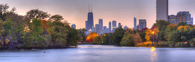 Chicago Skyline From Lincoln Park Poster