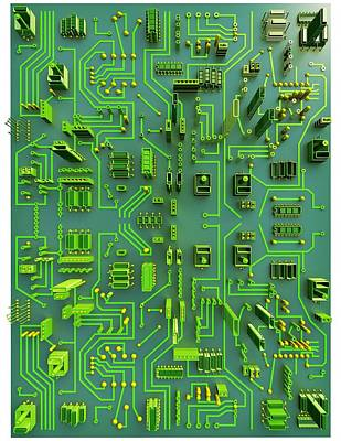 Circuit City, Computer Artwork Poster by Pasieka