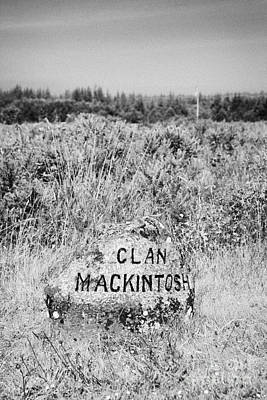 clan mackintosh memorial stone on Culloden moor battlefield site highlands scotland Poster