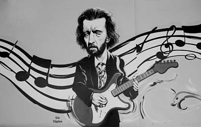 Clapton In Black And White Poster