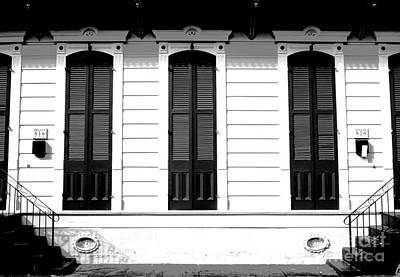 Classic French Quarter Residence New Orleans Black And White Conte Crayon Digital Art Poster