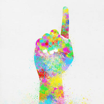 Colorful Painting Of Hand Pointing Finger Poster