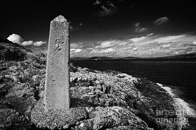 concrete mile marker post originally erected for the RMS titanic speed trials in Belfast Lough Poster