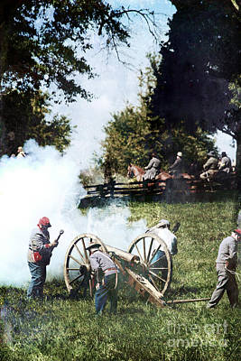 Confederate Soldiers At The Canon  Poster