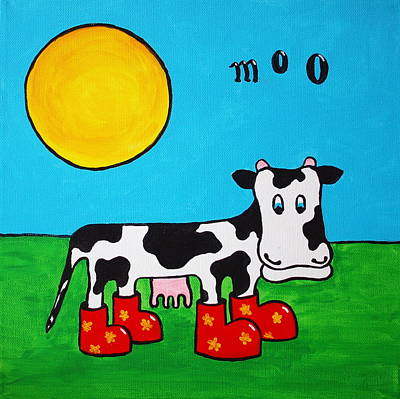 Poster featuring the painting Cow by Sheep McTavish