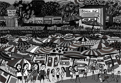 Crowded Beach Black And White Poster