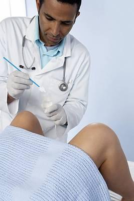 Doctor Obtaining A Cervical Smear Poster