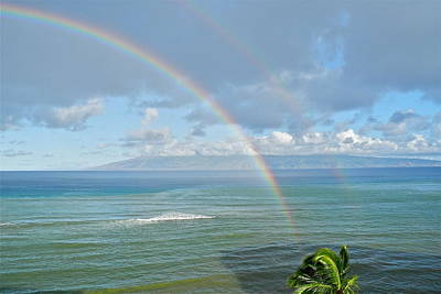 Poster featuring the photograph Double Rainbow In Maui by Kirsten Giving