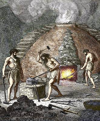 Early Humans Smelting Iron Poster by Sheila Terry