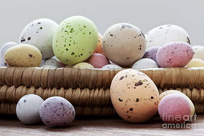 Easter Eggs In A Wicker Basket Poster by Richard Thomas
