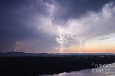 Electrical Storm At Dusk Poster by Jeremy Woodhouse