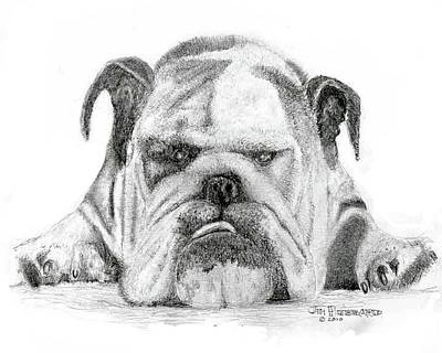 Poster featuring the drawing English Bulldog by Jim Hubbard
