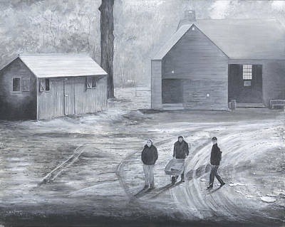 Poster featuring the painting Farm In Black And White by Stuart B Yaeger