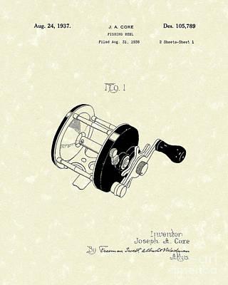 Fishing Reel 1937 Patent Art Poster by Prior Art Design