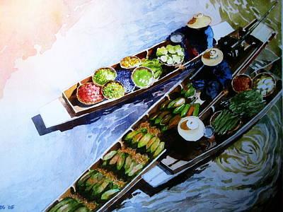 Floating Market Poster by V  Reyes