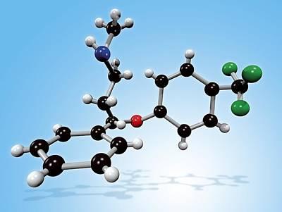 Fluoxetine Drug Molecule Poster by Miriam Maslo