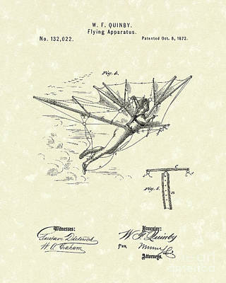 Flying Apparatus 1872 Patent Art Poster