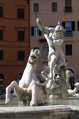 Fontana Del Nettuno. Neptune Fountain. Piazza Navona. Rome Poster by Bernard Jaubert