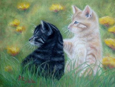 Poster featuring the painting Frisky Friends by Annamarie Sidella-Felts