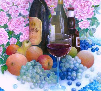 Fruits Wine And Roses Poster