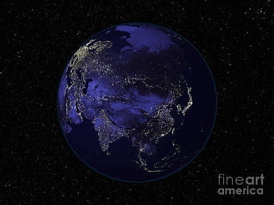 Full Earth At Night Showing City Lights Poster by Stocktrek Images