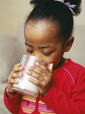 Girl Drinking Milk Poster by Ian Boddy