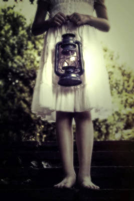 Girl With Oil Lamp Poster