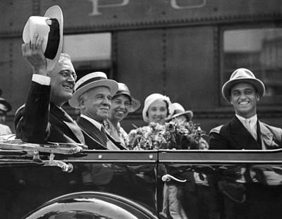 Governor Franklin Roosevelt Campaigning Poster by Everett