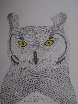 Poster featuring the drawing Great Horned Owl by Gerald Strine