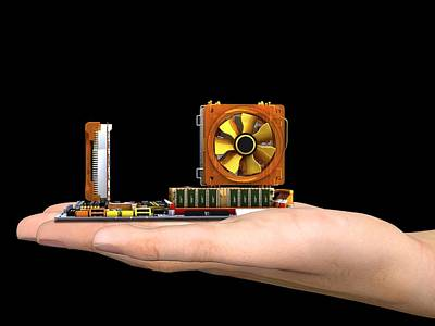 Hand With Computer Motherboard, Artwork Poster