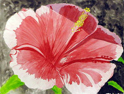 Poster featuring the painting Happy Hibiscus by Debi Singer