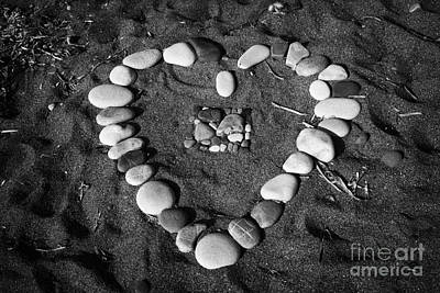 Heart Symbol Made Out Of Pebbles On The Beach At Aphrodites Rock Petra Tou Romiou Cyprus Poster