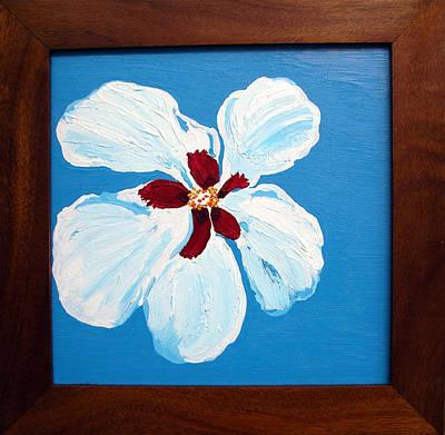 Hibiscus On Blue Poster by Karen Nicholson