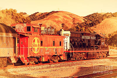 Historic Niles Trains In California . Old Southern Pacific Locomotive And Sante Fe Caboose . 7d10843 Poster by Wingsdomain Art and Photography