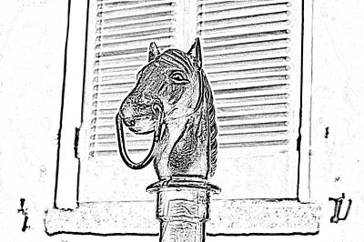 Horse Head Hitching Post Macro French Quarter New Orleans Black And White Photocopy Digital Art Poster