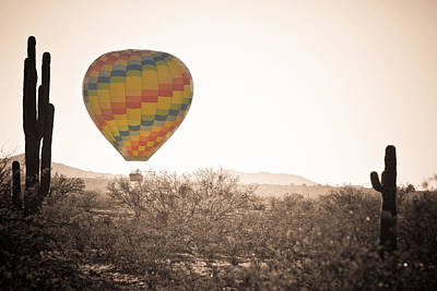Hot Air Balloon On The Arizona Sonoran Desert In Bw  Poster