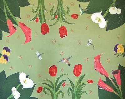 Hummingbird Garden Poster by Cindy Micklos