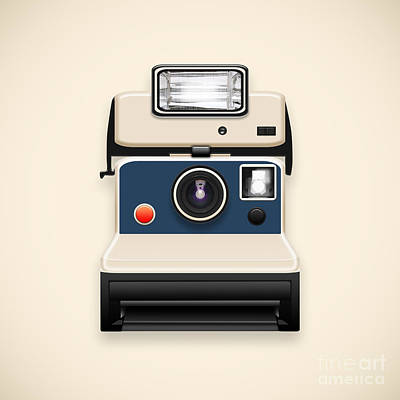 Instant Camera With A Blank Photo Poster