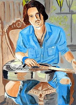 Poster featuring the painting Johnny Depp 2 by Audrey Pollitt