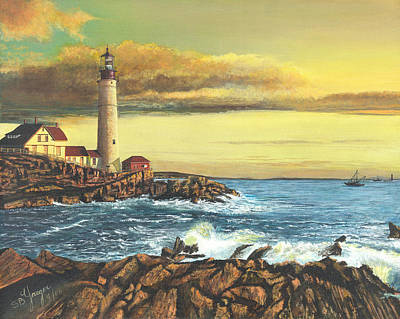 Poster featuring the painting light house Nova Scotia by Stuart B Yaeger