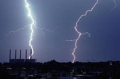 Lightning Over City Poster by John Foxx