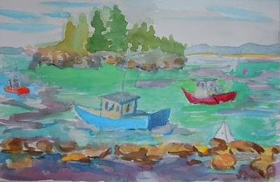 Lubec Lobster Boats Poster by Francine Frank