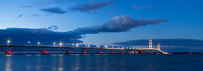 Mackinac Bridge In Evening Poster by Twenty Two North Photography
