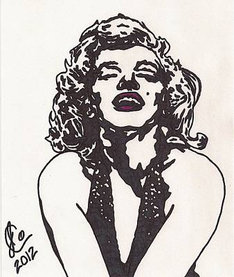 Poster featuring the drawing Marilyn Monroe by Jeremiah Colley